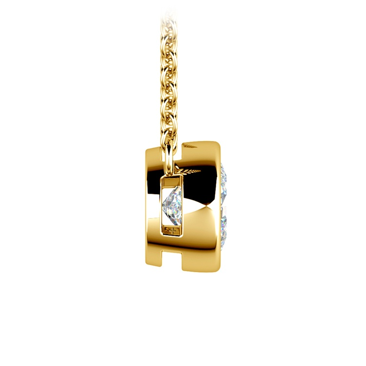 Bezel Diamond Solitaire Pendant in Yellow Gold (1 ctw) | 02