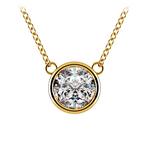 Bezel Diamond Solitaire Pendant in Yellow Gold (2 ctw) | Thumbnail 01
