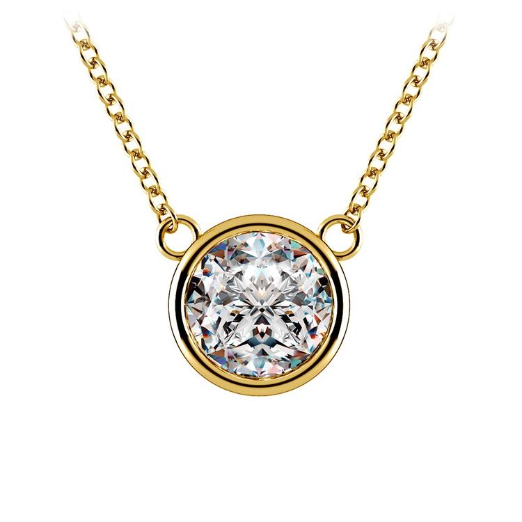 Bezel Diamond Solitaire Pendant in Yellow Gold (2 ctw) | 01