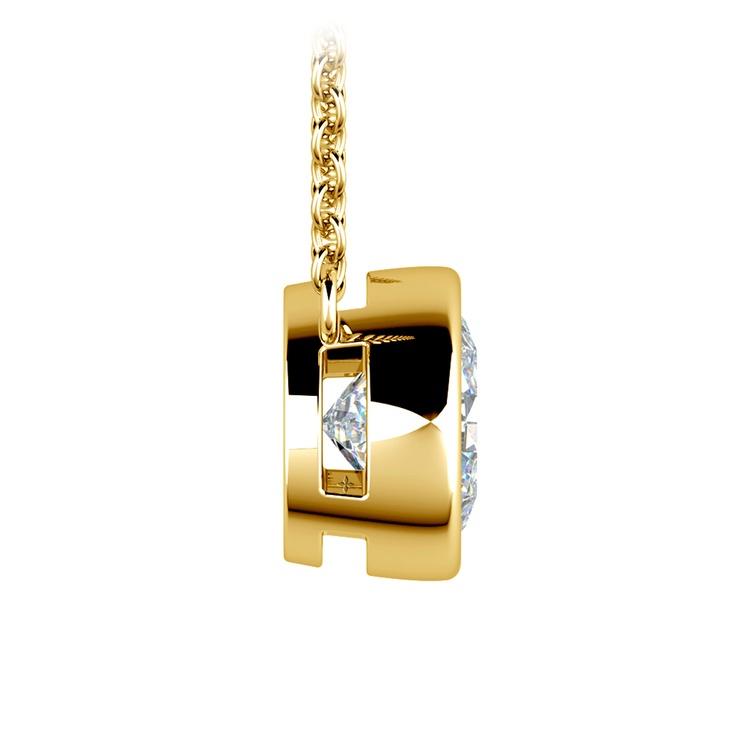 Bezel Diamond Solitaire Pendant in Yellow Gold (2 ctw) | 02