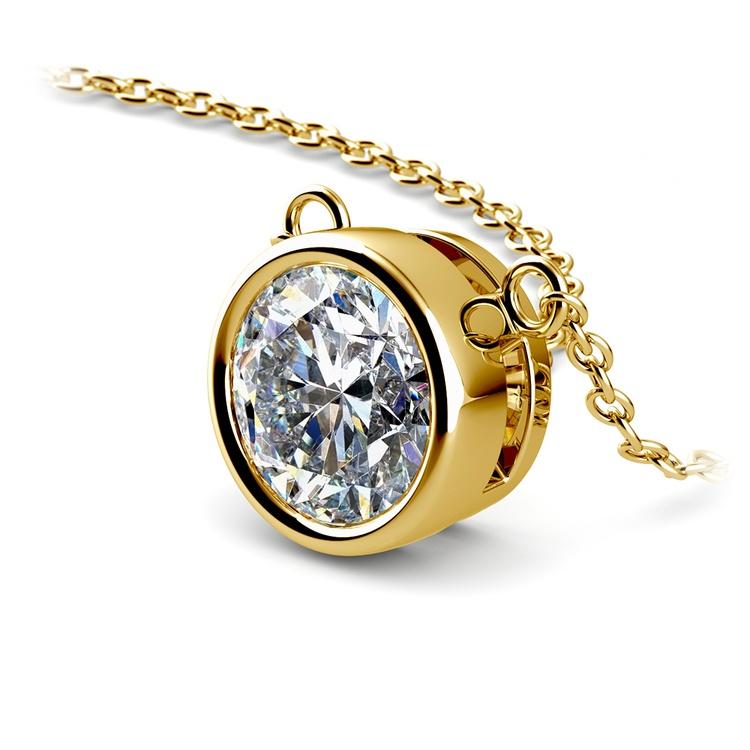 Bezel Diamond Solitaire Pendant in Yellow Gold (2 ctw) | 03