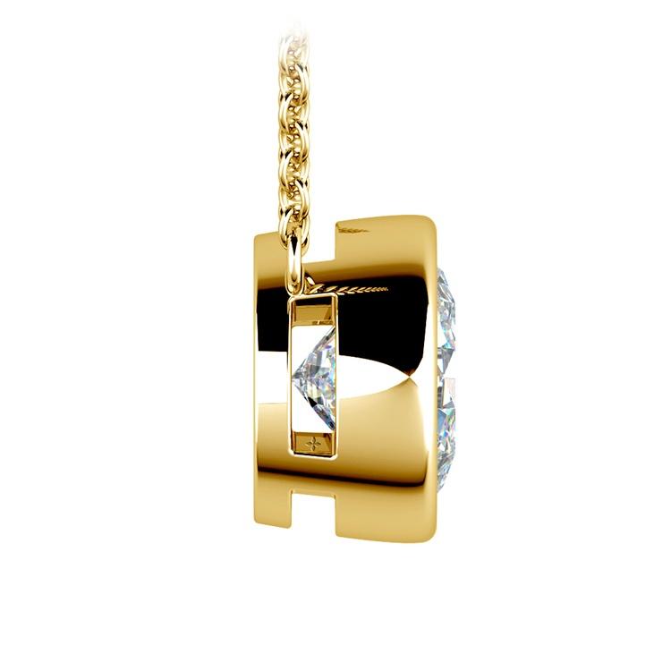 Bezel Diamond Solitaire Pendant in Yellow Gold (3 ctw) | 02