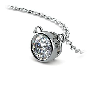 Bezel Solitaire Pendant Setting in White Gold