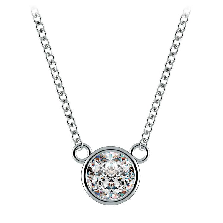Bezel Solitaire Pendant Setting in White Gold | 02