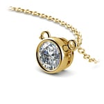 Bezel Solitaire Pendant Setting in Yellow Gold | Thumbnail 01