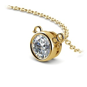 Bezel Solitaire Pendant Setting in Yellow Gold