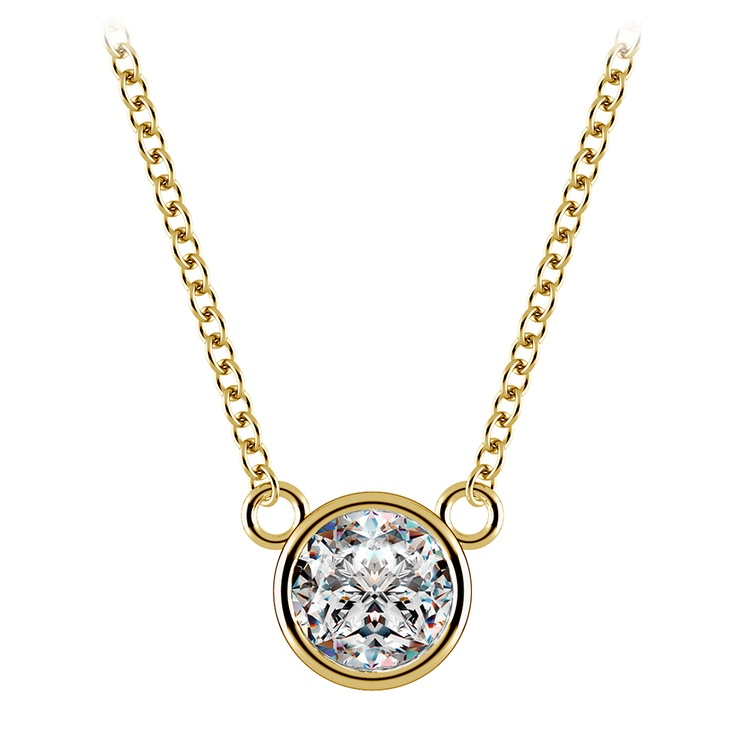 Bezel Solitaire Pendant Setting in Yellow Gold | 02