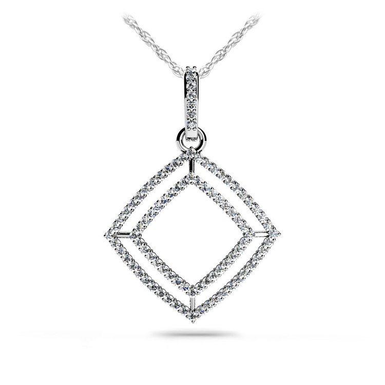 Box Diamond Pendant in White Gold | 01
