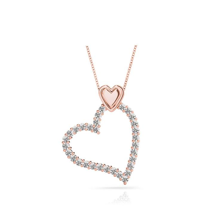 Charmed Diamond Heart Necklace In Rose Gold (1/2 Ctw) | 01