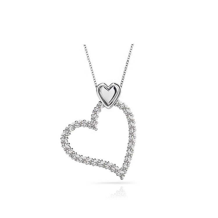 Charmed Diamond Heart Necklace in White Gold (1/2 ctw) | 01