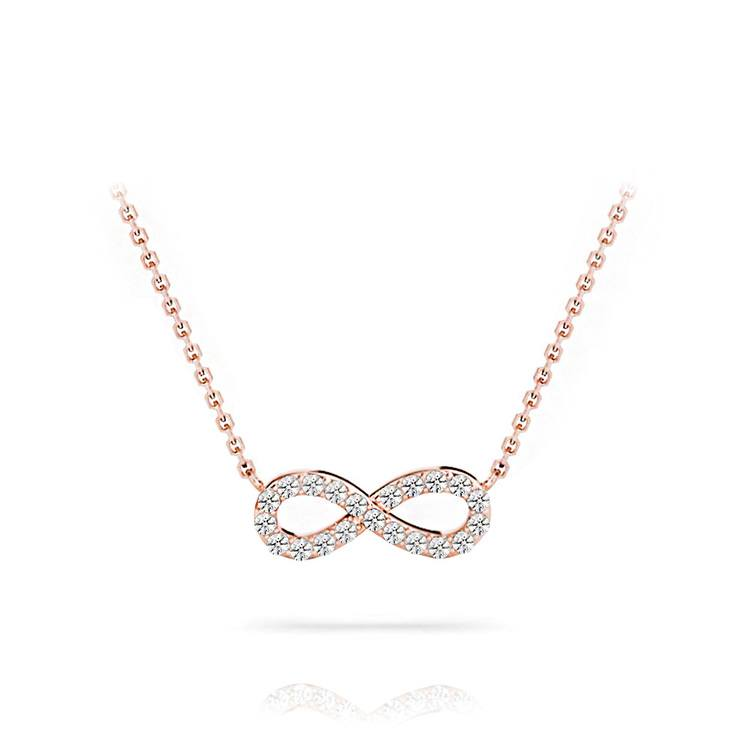 Charmed Diamond Infinity Necklace In Rose Gold | 01