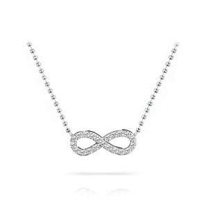 Charmed Diamond Infinity Necklace in White Gold