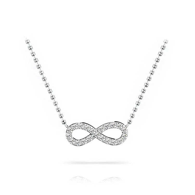 Charmed Diamond Infinity Necklace in White Gold | 01