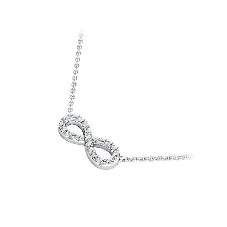 Charmed Diamond Infinity Necklace in White Gold | 02