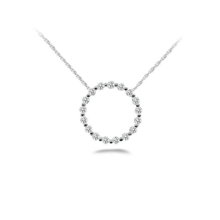 Diamond Circle Pendant in White Gold  | 01