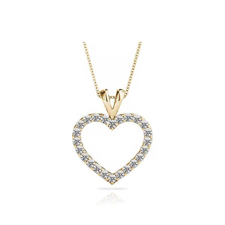 Classic Diamond Heart Pendant Necklace In Gold (1 Ctw) | 01
