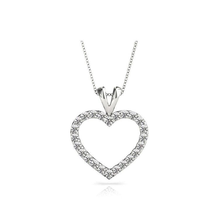 Classic Diamond Heart Pendant Necklace in White Gold (1 ctw) | 01