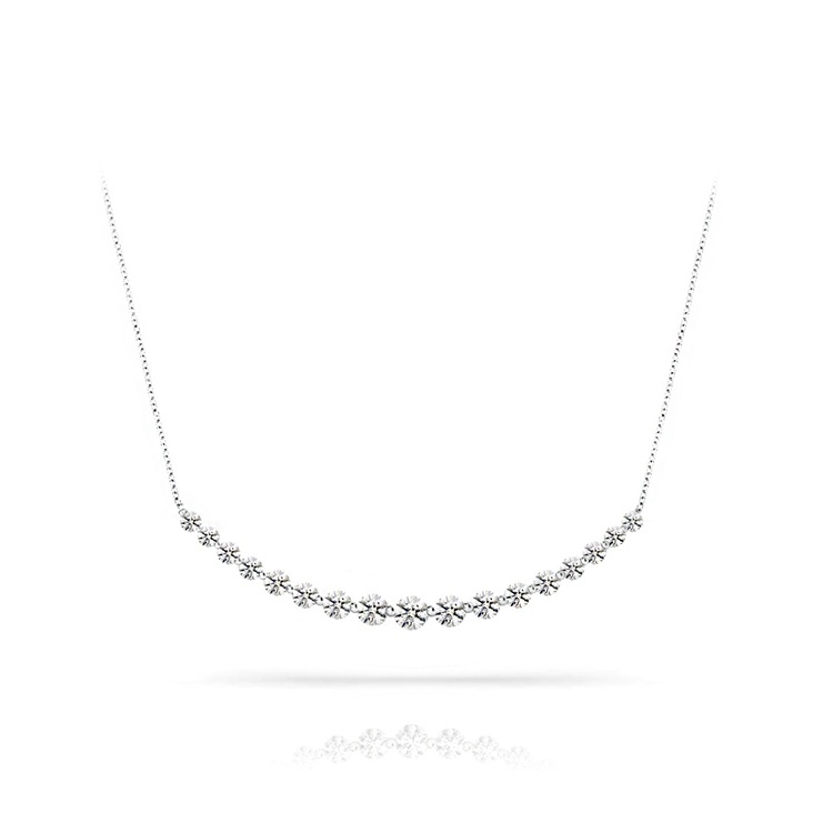 Crescent Diamond Necklace in White Gold (1 Carat) | 01