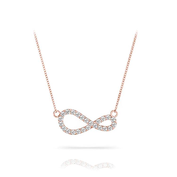 Curved Diamond Infinity Necklace In Rose Gold | 01