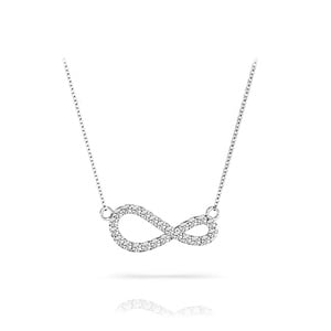Curved Diamond Infinity Necklace In White Gold