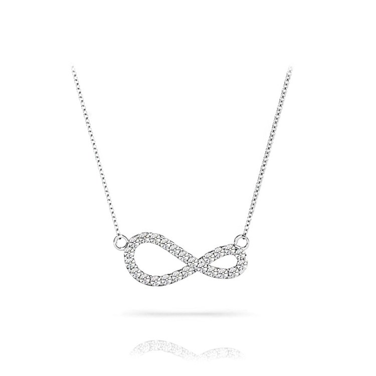 Curved Diamond Infinity Necklace In White Gold | 01