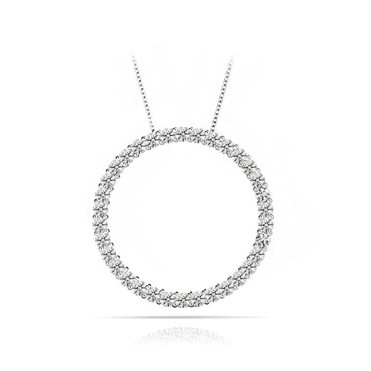 Diamond Circle Necklace In White Gold (1/2 ctw) | 01