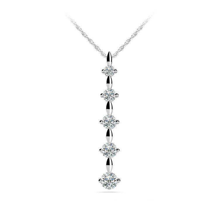 Diamond Drop Pendant in White Gold (1/4 ctw) | 01