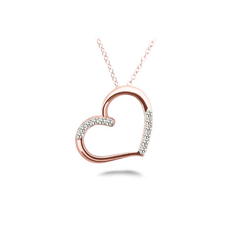 Diamond Heart Pendant In Rose Gold (1/4 Ctw) | 01