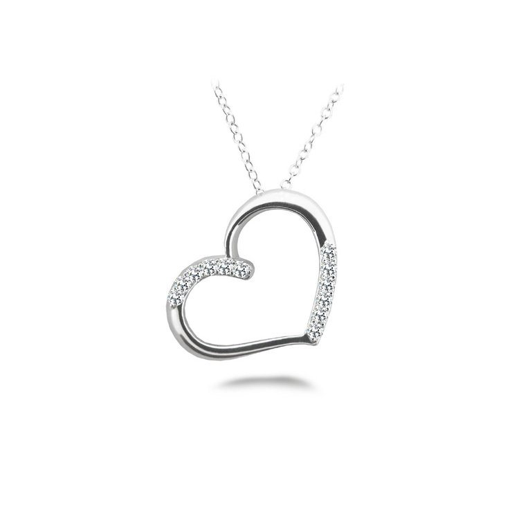 White Gold Diamond Heart Necklace (1/4 ctw) | 01