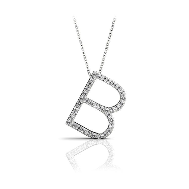 Diamond Initial Necklace - B | 01