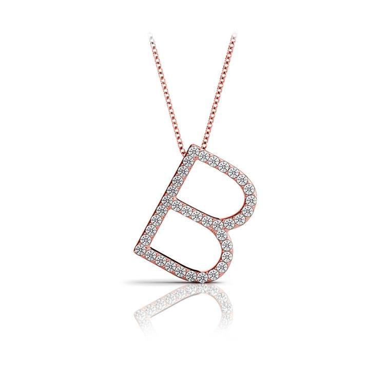 Diamond Initial Necklace - B | 05