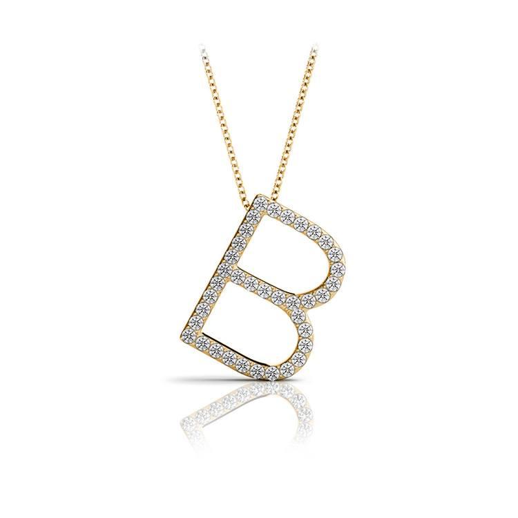 Diamond Initial Necklace - B | 04