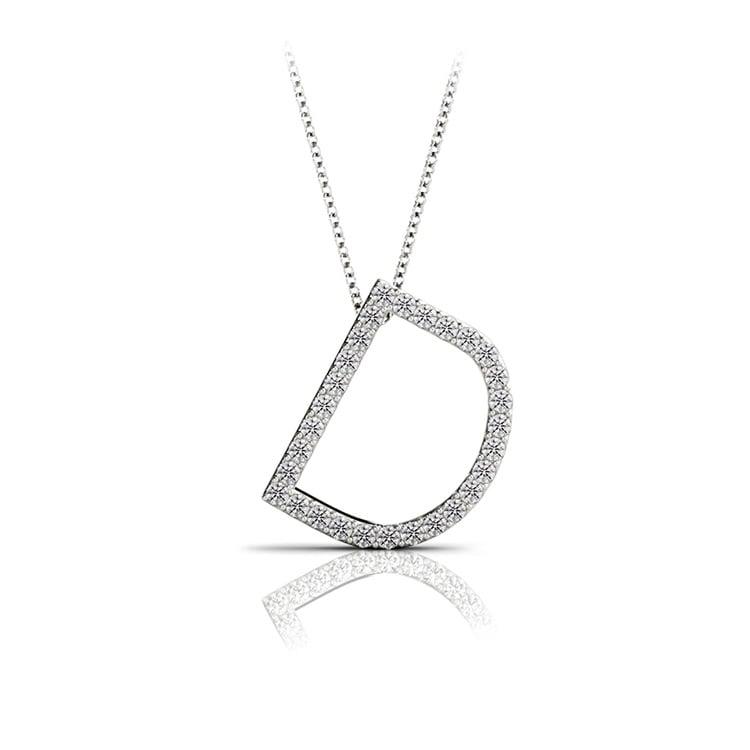 Diamond Initial Necklace - D   01