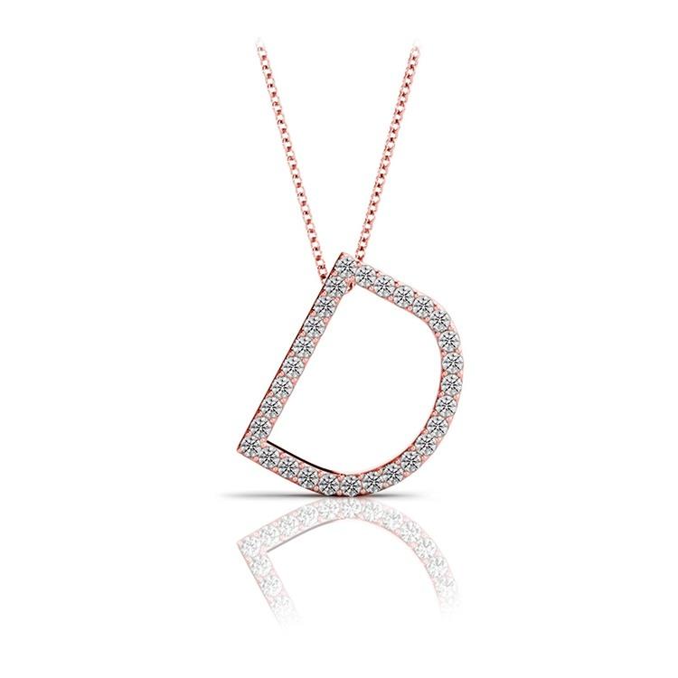 Diamond Initial Necklace - D   05