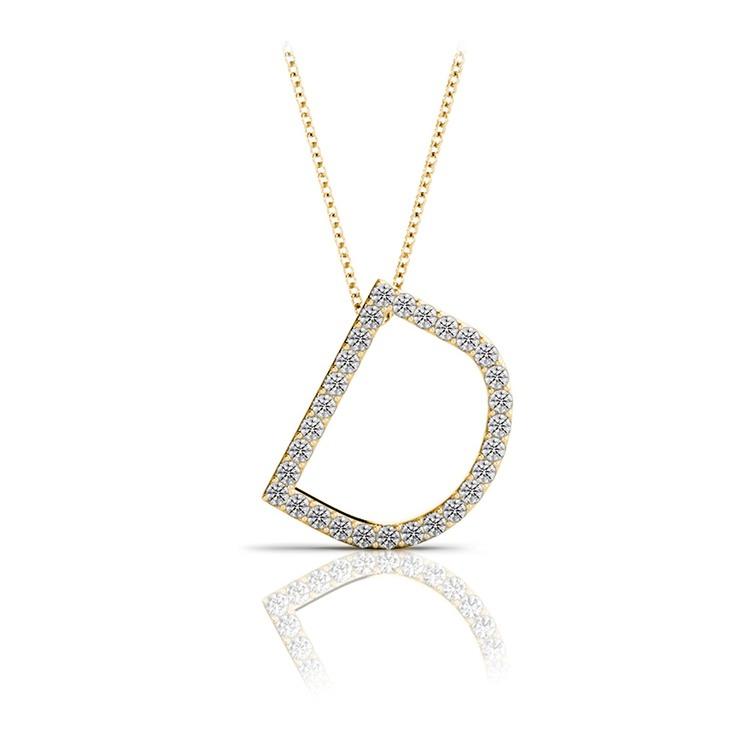 Diamond Initial Necklace - D   04