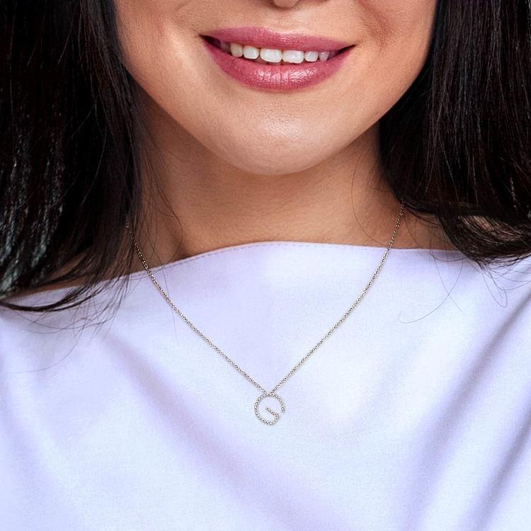 Diamond Initial Necklace - G   06