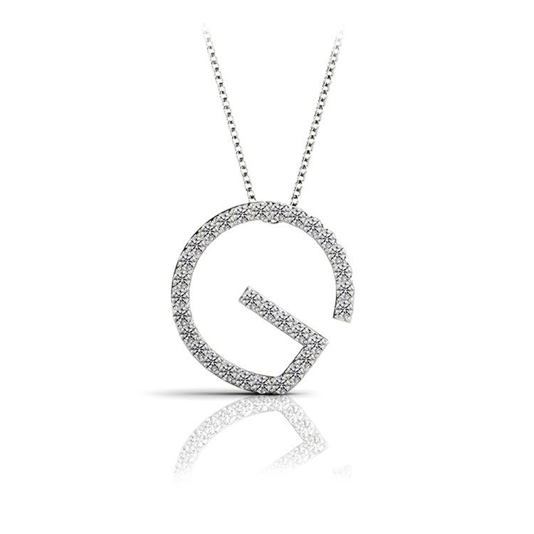 Diamond Initial Necklace - G   01