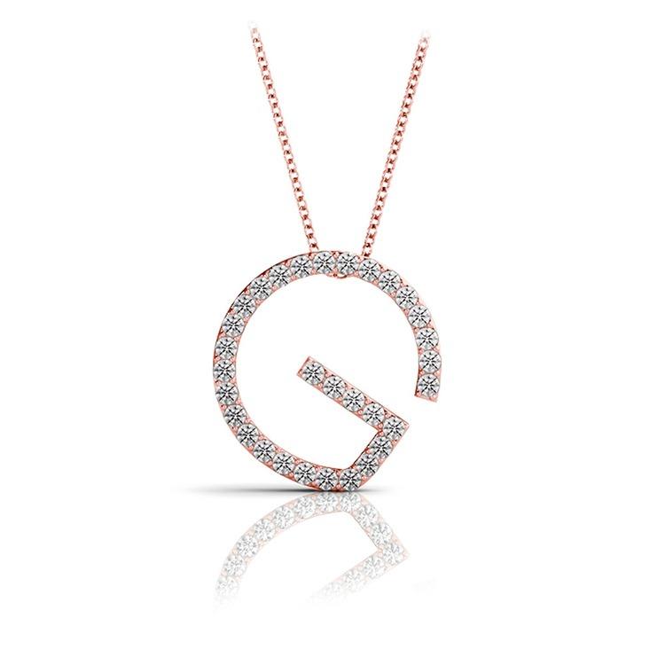 Diamond Initial Necklace - G   05