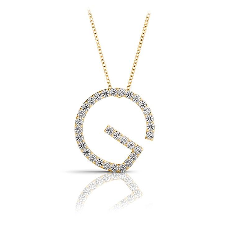 Diamond Initial Necklace - G   04