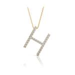 Diamond Initial Necklace - H | Thumbnail 04