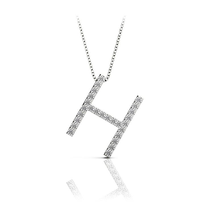 Diamond Initial Necklace - H | 01