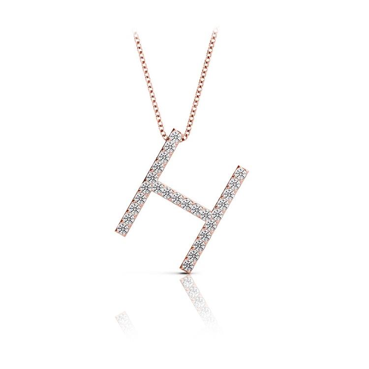 Diamond Initial Necklace - H | 05