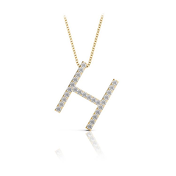 Diamond Initial Necklace - H | 04
