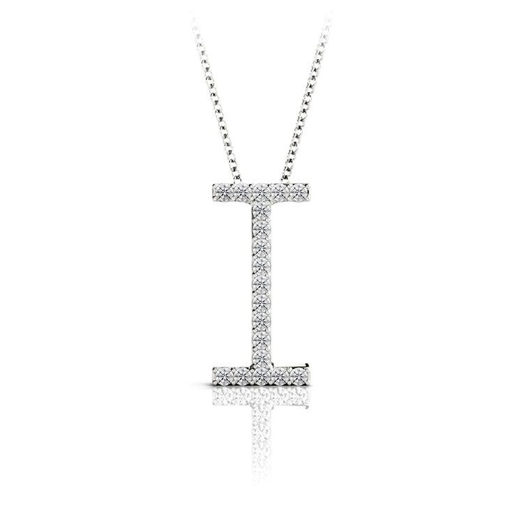 Diamond Initial Necklace - I   01