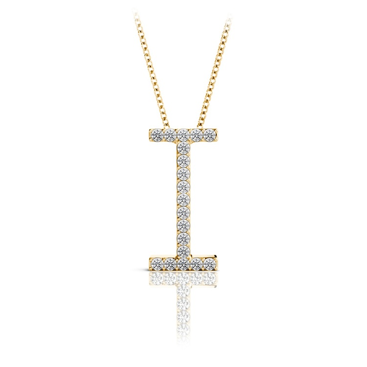 Diamond Initial Necklace - I   04
