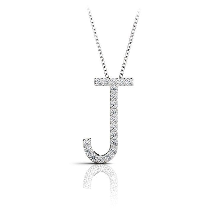 Diamond Initial Necklace - J | 01