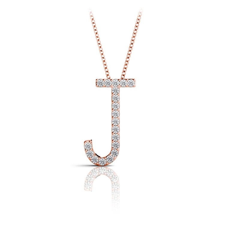 Diamond Initial Necklace - J | 05