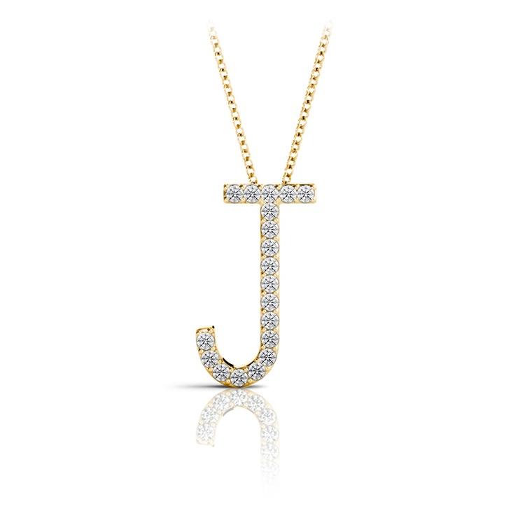 Diamond Initial Necklace - J | 04