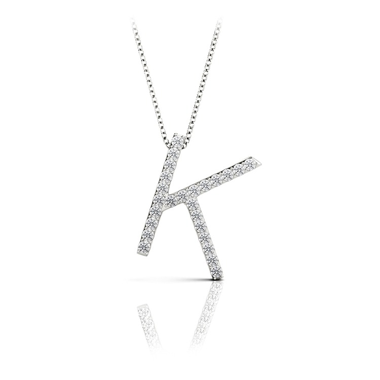 Diamond Initial Necklace - K | 01