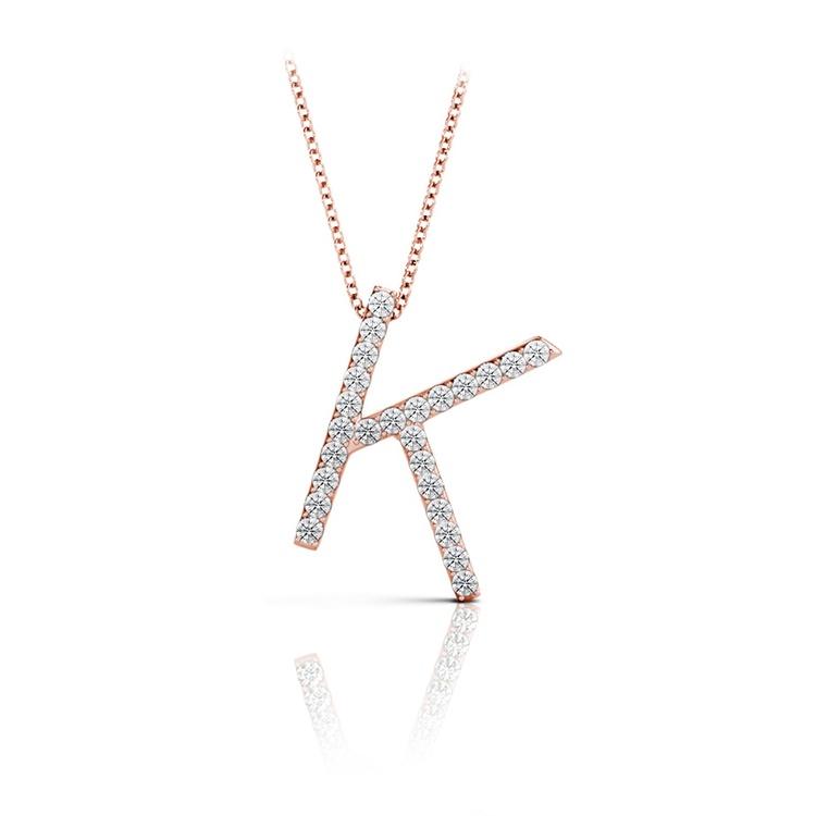 Diamond Initial Necklace - K | 05